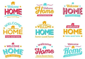 Free Colorful Welcome Home Typography Vector - бесплатный vector #401799