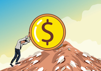 Man Pushing The Dollar Uphill - vector gratuit #401929