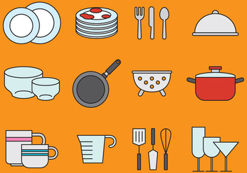 Cute Crockery And Kitchen Icons - Free vector #401949