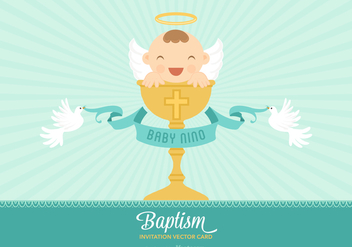 Free Vector Bautizo Invitation Card - Kostenloses vector #402009