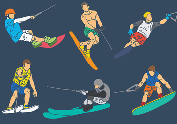 Free Water Skiing Icons Vector - бесплатный vector #402039