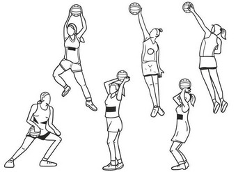 Netball Girls Vector - Free vector #402089