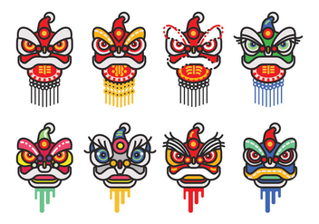 Chinese New Year Lion Dance Head Minimalist Flat Vector Icon Set - vector gratuit #402419