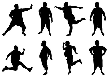 Set Of Fat Guy Silhouettes - vector gratuit #402429