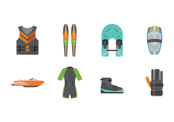 Free Water Ski Icons - vector gratuit #402599