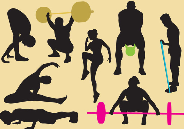 Exercise And Gym Silhouettes - vector gratuit #402619