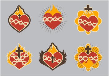 Sacred heart icon flat cute - vector gratuit #402649