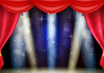 Theater Red Curtains With Lightning Background - Free vector #402769