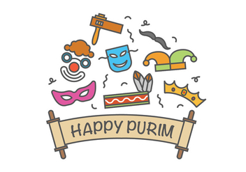 Happy purim vector icons - vector #403109 gratis