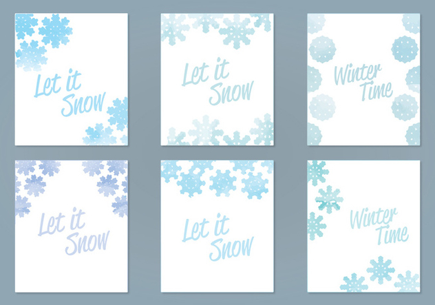 Vector Watercolor Snowflake Cards - Free vector #403189