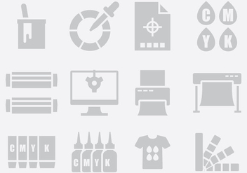Gray Printing Icons - Free vector #403229