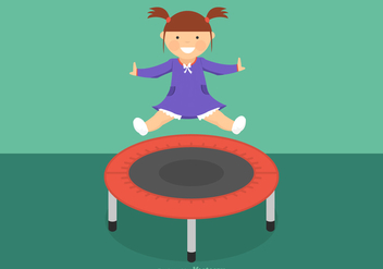 Free Girl Jumping On Trampoline Vector - бесплатный vector #403739