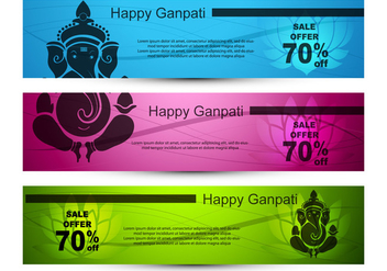 Vector Illustration of Ganpati Banner - Free vector #403909