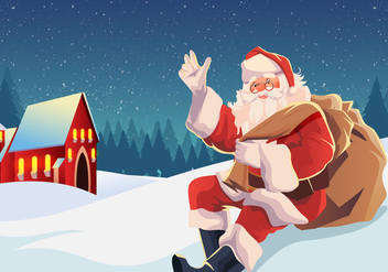 Sinterklaas Sitting in the Snow Vector - vector gratuit #403919