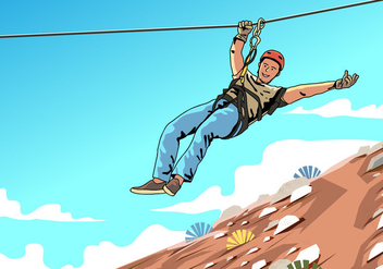 Young Male Zipline Rider - vector gratuit #403939