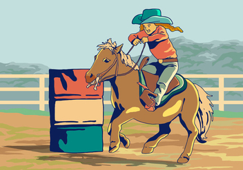 A Kid In Barrel Racing Competition Vector - бесплатный vector #403949