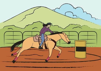 Free Barrel Racing Illustration - бесплатный vector #403969