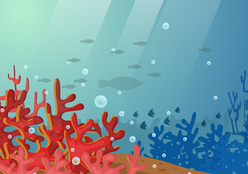 Under Water Scene With Coral And Fish Illustration - Free vector #404099