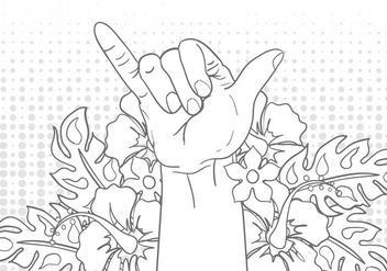 Shaka Sign Gesture With Flower Illustration - Kostenloses vector #404109