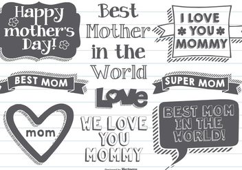 Hand Drawn Mother's Day Labels - Free vector #404209