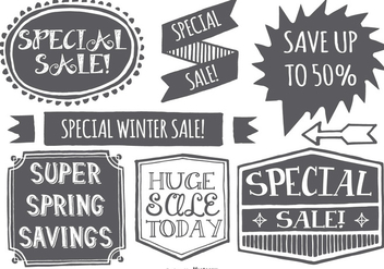 Hand Drawn Style Promotional Sale Labels - бесплатный vector #404229