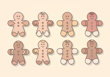Vector Gingerbread Man Collection - Free vector #404289