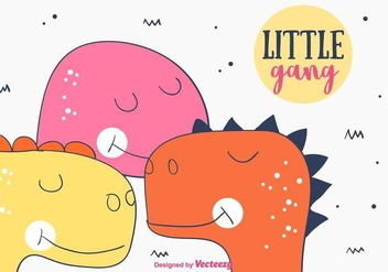 Little Dino Gang Background - vector gratuit #404319