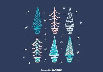 Hand Drawn Winter Trees - vector gratuit #404329