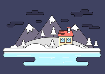 Snow Capped Island Vector Illustration - vector gratuit #404619