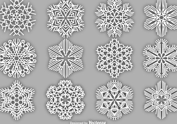 Set Of Vector White Snowflakes - Free vector #404879