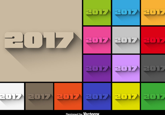 2017 New Year Colorful Buttons Set - Vector - vector gratuit #404889