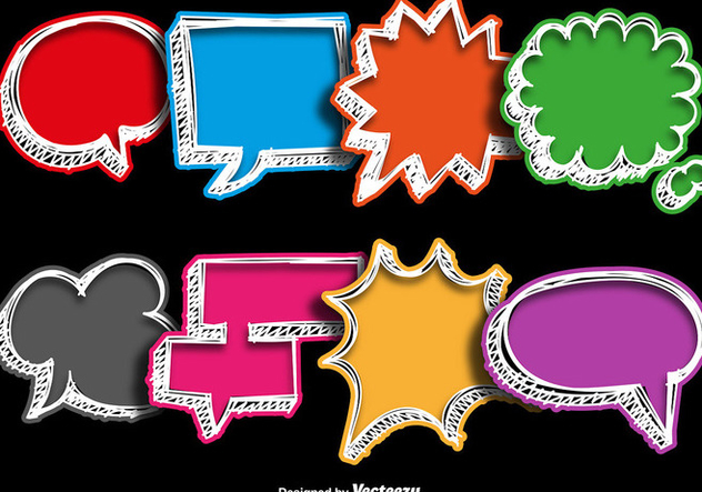 Vector Collections Of Hand Drawn Colorful Speech Bubbles - Free vector #404899