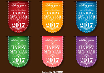 New Year 2017 Vector Labels - бесплатный vector #404909