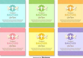 Bautizo Vector Invitations Blank Template - vector gratuit #404949