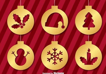 Vector Golden Christmas Ornament Icons - vector gratuit #404969
