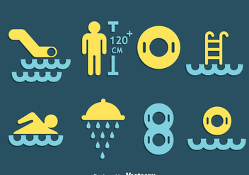 Water Park Element Icons Vector - vector gratuit #405079