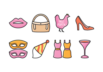 Free Hen Party Icons - vector #405379 gratis