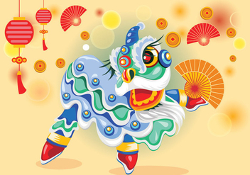 Cute Chinesse Lion Dance Vector - Free vector #405669