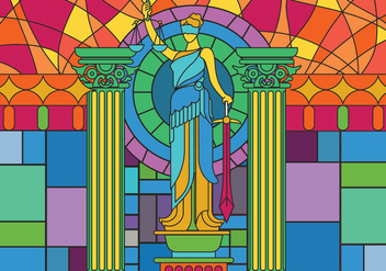 Statue of Justice Glass Painting Illustration Vector - Free vector #405679