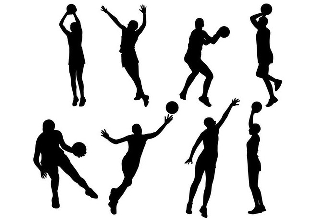 Free Netball Player Silhouettes Vector - vector gratuit #405819