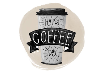 Free National Coffee Day Watercolor Vector - бесплатный vector #405889