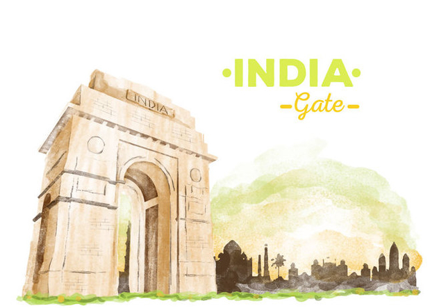 Free India Gate Watercolor Vector - Free vector #405959