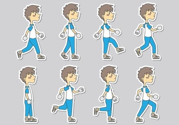 Walk Cycle Icons - Free vector #406279