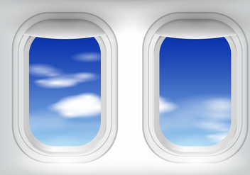 Plane Window With Blue Sky - vector gratuit #406399
