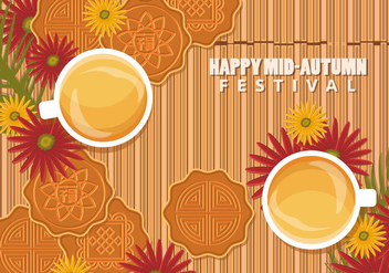 Chinese Mid Autumn Festival Background With Mooncake And Tea - бесплатный vector #406409