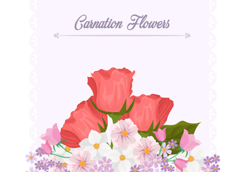 Carnation Flower Background Template - vector gratuit #406419