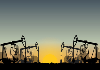 Oil Field Over Sunset Vector - Kostenloses vector #406489