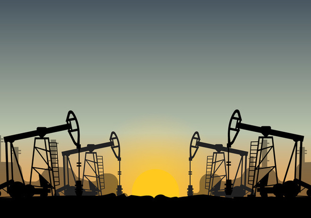 Oil Field Over Sunset Vector - Free vector #406489