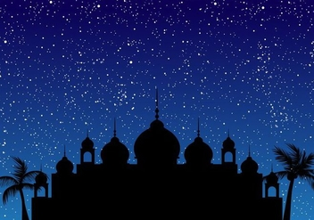 Silhouette Of Mosque With Blue Sky - Free vector #406529