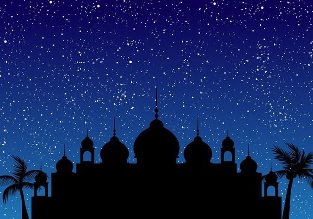 Silhouette Of Mosque With Blue Sky - Kostenloses vector #406529